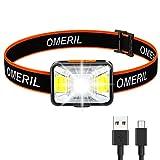 OMERIL Linterna Frontal LED USB Recargable, Linterna Cabeza Super...