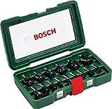 Bosch Set de 15 fresas de metal duro (para madera, vástago de 8 mm,...