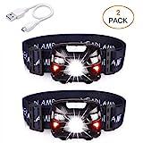 APUNOL 2 Unidades Linterna Frontal LED USB Recargable, Linternas Cabeza 400...